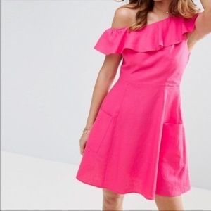 Asos 8 Hot Pink Dress Off Shoulder Linen Pockets